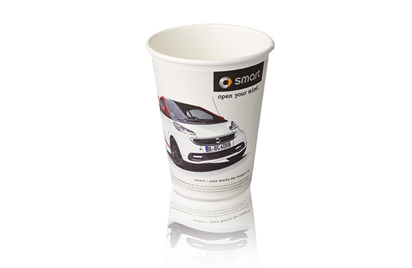 Recyclebarer Graspapier Becher Coffee To-Go Kampagne Smart AD2GO