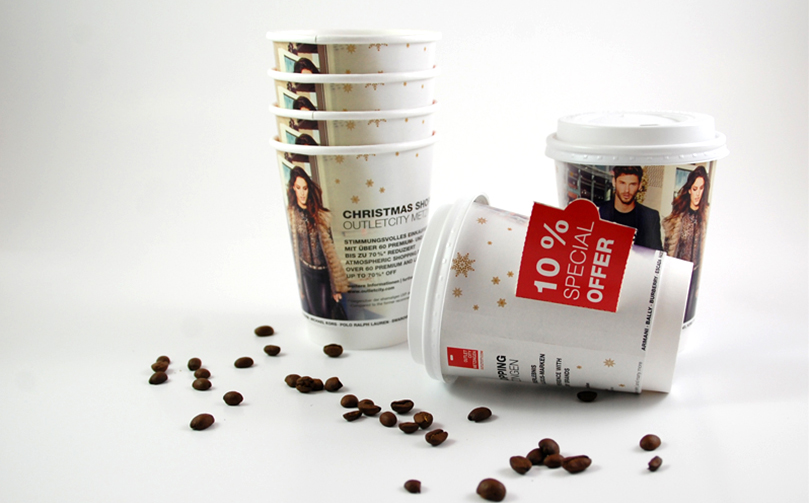 Outletcity Metzingen Coffee To-Go Becher Kampagne AD2GO
