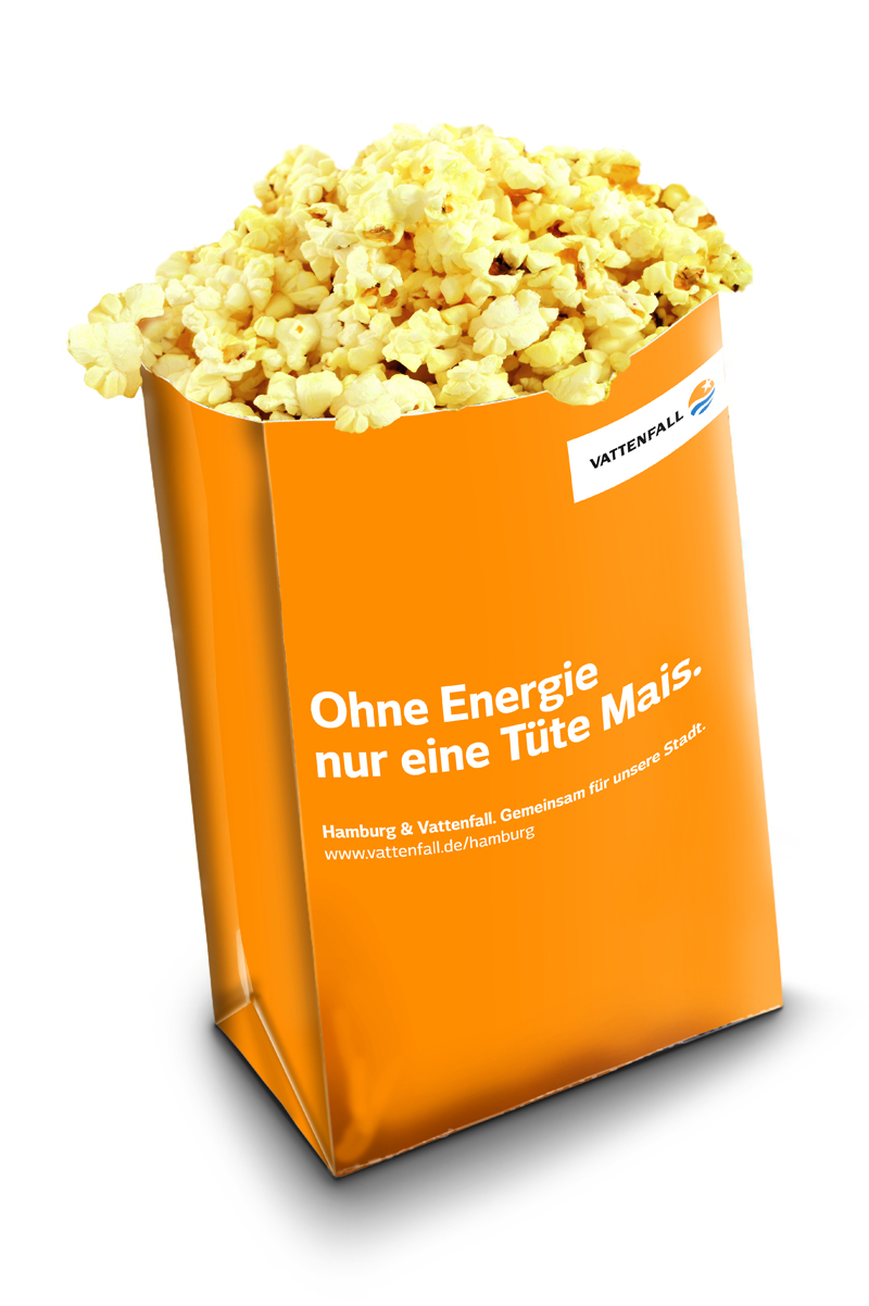 Popcorntüte Vattenfall To-Go Kampagne AD2GO