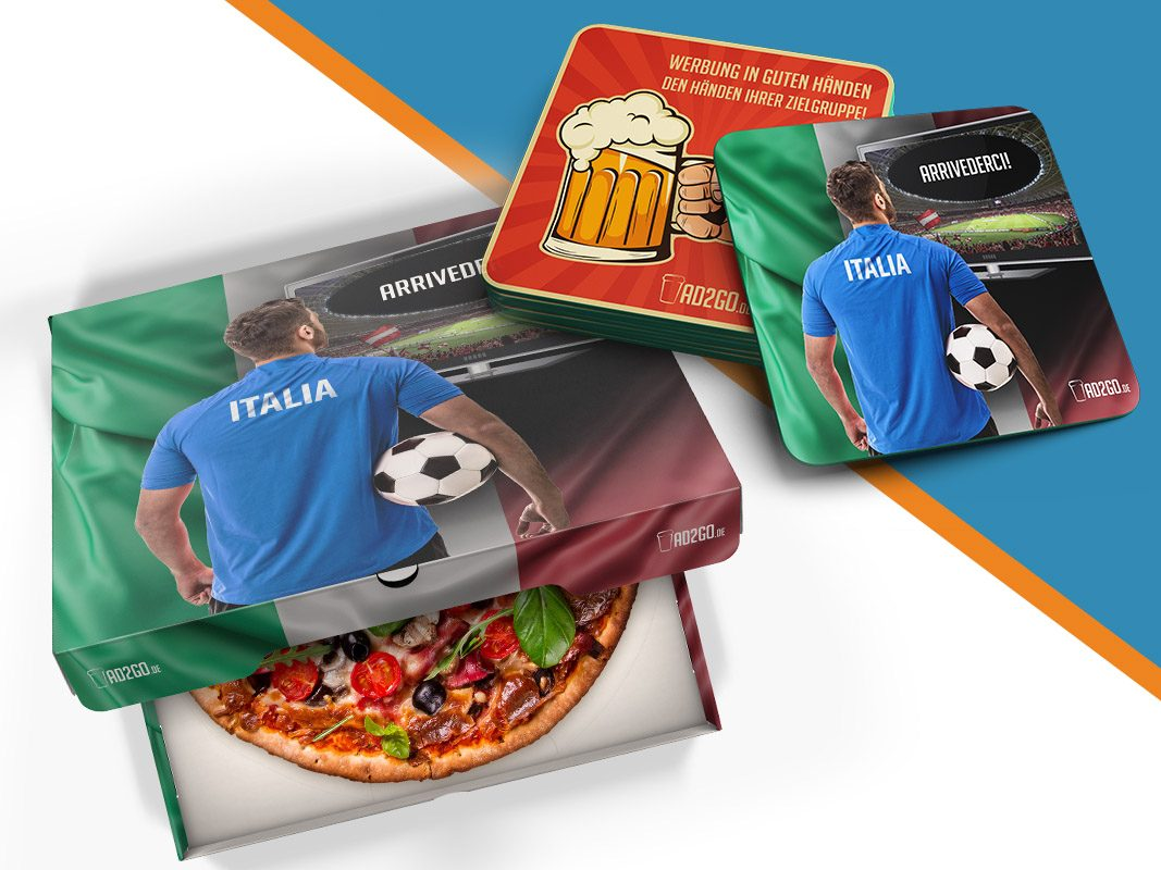 Pizzakarton Fußball To-Go Produkt AD2GO